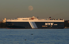 SIRIUS LEADER - NYK Line - in New York, USA. October, 2016 (Tom Turner - SeaTeamImages / AirTeamImages) Tags: roro rollon rolloff cargo vessel autocarrier carcarrier vehiclecarrier narrows bay siriusleader nyk nykline spot spotting tomturner channel statenisland newyork nyc bigapple unitedstates usa moon fullmoon marine maritime pony port harbor harbour transport transportation