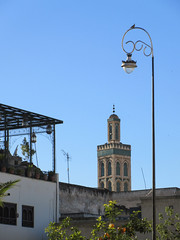 Minaret, terrace, and lamp from Place Rcif, Fez, Morocco (Paul McClure DC) Tags: fez morocco fès almaghrib dec2016 medina feselbali maroc mosque historic architecture