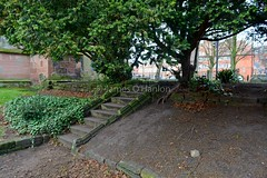 Steps in garden area (James O'Hanlon) Tags: chester cheshire john baptist johnthebaptist church cathedral ruins norman medieval effigy stained glass chapel saint st