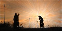 F_47A7828-2-BW-Canon 5DIII-Tamron 28-300mm-May Lee 廖藹淳 (May-margy) Tags: maymargy 疊圖 實驗 人像 背影 剪影 腳踏車 腳踏車道 路燈 模糊 散景 銹鐵板 photoshop 放射模糊 街拍 streetviewphotographytaiwan 線條造型與光影 linesformandlightandshadows 天馬行空鏡頭的異想世界 mylensandmyimagionation 心象意象與影像 nautralcoincidencethrumylens 台北市 台灣 中華民國 taiwan repofchina f47a78282bw imagesoverlay rustymetalsheet backgroundtexture 背景底紋 portrait streetlights bikers silhouette viewfromback bicycletrail blur bokeh taipeicity canon5diii tamron28300mm maylee廖藹淳