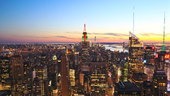 Top Of The Rock Sunset (- Anita Ao) Tags: newyorkcity nyc newyork totr topoftherock rockefellercentre rockefellercenter sunset bluehour goldenhour longexposure slowshutterspeed slowshutter unitedstatesofamerica usa manhattan empirestatebuilding esb christmas lowermanhattan downtownmanhattan