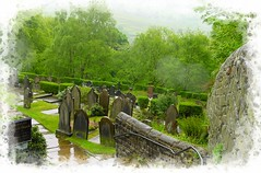 Wet Day at Heptonstall (Audrey A Jackson) Tags: sonycybershot yorkshire heptonstall graveyard rain nature trees church headstones 1001nights