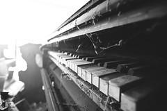 Harmonium. (Denisa Colours of Decay) Tags: abandoned urbex urban exploration piano harmonium canon czphoto czech tokina blackandwhite monochrome sun light church