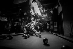 Shooting Pool (Judd515) Tags: bw blackandwhite desmoines d600 bar pub iowa midwest nikon billiards poolball poolstick pooltable