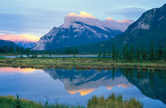 Mount Rundle (Scott Leonhart) Tags: alberta banffnationalpark canada dusk mountrundle mountain reflection thirdvermillionlake