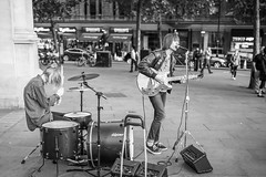 20150903_F0001: Street Rock Band (wfxue) Tags: street people blackandwhite bw musician music playing rock drums singing guitar song candid performance band sing perform