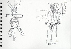 Zombie Rabbit and Dressed for Success (MicheleC2) Tags: pen drawing usk ppatch micron bradner urbansketchers