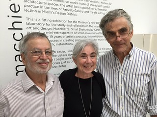 Harold and Karen Rifas with George Fishman at Karen's opening at the Miami Dade art and design Museum