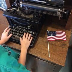 Freedom of speech. #malabarfarm (brungrrl) Tags: ohio typewriter freedom flag fromabove malabarfarm instagram ifttt