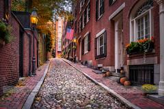 Acorn Street in fall (betty wiley) Tags: autumn usa fall gourds boston seasons massachusetts hill pumpkins newengland landmark cobblestones iconic beacon beantown acornstreet bettywileyphotography