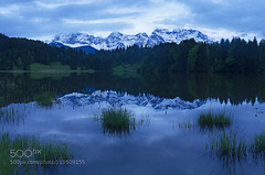 Quest for Satori - Redux (trishafhoque) Tags: blue trees sunset mountain lake mountains alps reflection clouds germany bayern deutschland bavaria state pentax free sigma hour gerold geroldsee