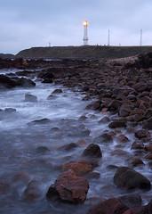 Greyhope Bay (.annajane) Tags: ocean longexposure sea lighthouse water coast scotland rocks waves dusk wave aberdeen shore northsea lighttrail girdlenesslighthouse livecomposite