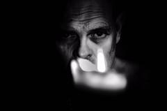 Flicker ! (CJS*64) Tags: portrait people bw black monochrome face blackbackground mono blackwhite nikon candle head thoughtful flame burn thinking nikkor dslr 50mmf18d sureal flicker cjs whiteblack nikkorlens 50mmf18lens 50mmnikkorlens d7000 nikond7000 craigsunter cjs64