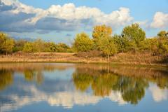 The Little Pond (NaturalLight) Tags: autumn cloud reflections pond kansas prairie wichita chishomcreekpark