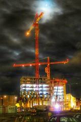Clarion Hotel Helsinki (polnamara) Tags: november sky moon night clouds finland helsinki cranes moonlight g7x november2015
