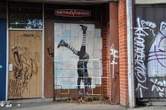 "larissa mcfarlane ""i always do a handstand..."" (tb_frbnk) Tags: streetart pasteup urbanart handstand pastie footscray bigwestfestival melbournestreetart allthoseshapes larissamcfarlane"