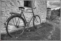 Old Transport (pictureThis-d.i) Tags: old bicycle gate flickr cycle northernireland stonewall saddle countrylife picturethis stonepillar spokedwheels triumphcycles
