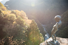 TOKUSHIMA DAYS - Iya valley (junog007) Tags: autumn light mountain tree statue japan river nikon outdoor shikoku nano tokushima autumnalleaves d800 iya 2470mm nanocrystalcoat