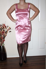 Pink satin wiggle dress (sheerglamour) Tags: leather fetish dress heels satin pvc wiggle nylons hobble glamoursheerglamour