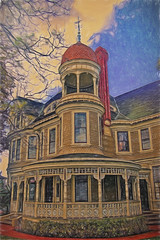 Long-Waterman Mansion (color pencils) (Artypixall) Tags: urban texture sandiego historichome victorianhouse bankershill longwatermanmansion
