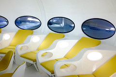 Futuro House - Seating (Michael Goldrei (microsketch)) Tags: december street college space spaceship pancras photos ship king fuji architecture oval ufo photo fibreglass csm flying kx saint fujifilm unidentified house 16 100 chair prefabricated x100t martins darkness 2016 film photographer 1960 st chairs photography prefabricatedmatti cross night kings nighttime central futurohouse 1960s time futuro yellow seating saucer dec windows seats after seat barnes t architect dark london 60s object x xseries craig kings suuronen