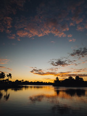 Pink clouds at sunset (Garen M.) Tags: 366project guerettes katie marcoisland marcoislandhome olympusomdem1 sara sky sunset susan view zuikopro1440mmf28 dock dusk family