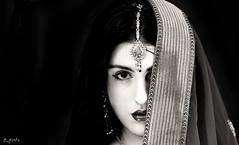 Indian Attire (Kumar Manoj Pixels) Tags: alexandriapascucci alexandria india delhi desi jewellery jewels eyes blackandwhite black bw saree bindi
