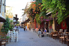 paths and roads (JoannaRB2009) Tags: path road street restaurant chair table people summer holiday warm city urban life tourists flowers building buildings architecture chania hania xania canea crete kriti kreta greece greek oldtown old historical