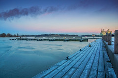 Helsinki waterfront (tseyin) Tags: bridge jetty winter water waterways frozen ice snow sunset colours colourful color clouds cloud city europe finland helsinki reflection reflections sea travel sunsets