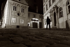 The usual suspect (No_Mosquito) Tags: vienna monochrome canon powershot g7x mark ii dark night urban cobblestones shadow austria europe city light old historic centre man selfie