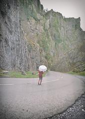 Walk the Line.. (Harleynik Rides Again.) Tags: backshot road woman parasol reddress sureal retro vintage facelessportrait