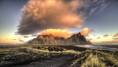 Dawn Light in Iceland (Nick L) Tags: landscape iceland hofn southeasticeland southerniceland stokksnes stokknes stokkness stockness vestrahorn vesturhorn kambhorn dawnlight dawn sunrise clouds seashore brunnhorn dunes plutonicgabbro sea waves sky canonef1124f4l 5d 5d3 eos canon canon5d3 panoramic inspiredbylove
