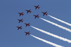 Red Arrows 0170 (gofirecrest) Tags: hawk smoke precision hawktrainer redarrows aerobatics formationflying canoneos7d bournemouthairfestival sigma100300mmf4exifhsmapo bournemouthairfestival2015