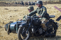 The Victory Show 2015 (MichaelJTopleyPhotography) Tags: bike vintage war smoke motorbike 1940s german motorcycle battlefield forties reenactment victoryshow thevictoryshow