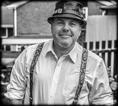 Braces and Hats. (CWhatPhotos) Tags: cwhatphotos photographs photograph pic pics photo photos images image foto fotos that have which contain with canon 5d iii eos dslr portrait zoom lseries lens white shirt braces man cool look pork pie hat jill corbet leather flickr