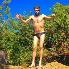 IMG_6993 (danimaniacs) Tags: shirtless man hot sexy guy beard fun jump trampoline trunks speedo swimsuit stud scruff bulge mansolo