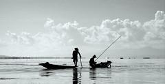 Fishing on Inle Lake, Myanmar (PeterCH51) Tags: blackandwhite bw lake monochrome silhouette backlight landscape boat fishing fisherman scenery burma myanmar inlelake inle peterch51