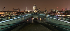 Millennium Bridge and St Pauls Cathedral at night in London (chrissmithphotos1) Tags: old city uk morning travel bridge england urban panorama abstract building london english history beautiful st thames skyline architecture night river outdoors dawn evening europe cityscape exterior cathedral britain dusk united famous pauls nobody landmark icon panoramic millennium historic historical british iconic attraction kingdoms