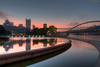 reflections at dawn (loco's photos) Tags: city trip morning bridge light sky reflection building water fountain colors pool skyline clouds sunrise dawn colorful pittsburgh place pentax pennsylvania vivid pa rivers fortpitt ppg hdr confluence k3 pointstatepark highmark photomatix