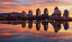 Before The Dawn Of Time (Clayton Perry Photoworks) Tags: autumn panorama canada fall skyline vancouver sunrise buildings reflections bc falsecreek scienceworld explorebc explorecanada vancitybuzz