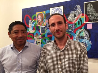 Venezuelan artist Carlos Cabeza with O. Ascanio Gallery manager Nicolas Ascanio at the Wynwood gallery opening