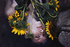 Sunflowers (isabellabubola) Tags: flowers blue light sea portrait selfportrait art water colors girl beautiful beauty face yellow self dark photography photo model eyes soft moody photographer skin fineart atmosphere lips portraiture sunflowers ambient delicate emotions emotive feelings evocative