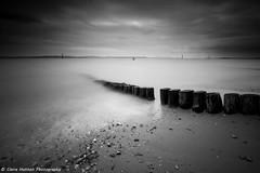 (Claire Hutton) Tags: wood uk longexposure sea blackandwhite bw beach water monochrome mono wooden overcast hampshire le posts lepe ndfilter 10stop nd110 leefilters 10stopper sonya6000
