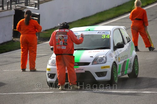 Michael Higgs on the grid for Fiesta Junior Championship, Brands Hatch, 2015