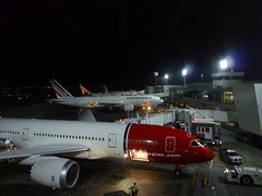 201508297 New York City Queens JFK airport with DY, AF and AZ airplanes (taigatrommelchen) Tags: nyc newyorkcity usa ny newyork tower night airplane airport jfk queens aza nax afr kjfk 20150835