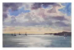 Before storm in Arklow (katekos) Tags: ireland sea seascape art water clouds watercolor painting boats watercolour wicklow arklow krajobraz akwarela katekos