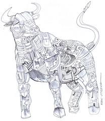 toro a lapicero (ivanutrera) Tags: animal pen sketch drawing draw dibujo toro ilustracion lapicero boligrafo dibujoalapicero dibujoenboligrafo