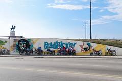 Cuban bikers in front of graffiti (Tanya Yakovchuk) Tags: blue portrait green art history monument face yellow wall vintage painting graffiti freedom general symbol background grunge famous havana cuba motorcycles icon communist communism revolution malecon che antonio cuban habana revolutionary iconic revolucion guevara bikers infront maceo motorcyclists ujc