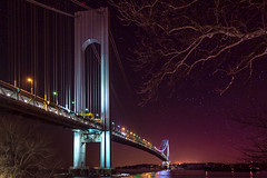 004 (Hoover Tung) Tags: arch architecture bridge brooklyn city cityscape engineering evening highway lights narrows night purple river stars steel suspension tall tower traffic transportation travel verrazano water nikon d5200
