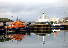 A Mirror Image At Kirkwall Harbour (orquil) Tags: kirkwall harbour mirrorimage seaside calm sea noripples great stunning reflections thebasin piers beacon rnli lifeboat on1231 1713 kirkwallbay pilotboat two moored roro ferries buildings offices ships sunny january afternoon winter sunshine cloudy sky orkney islands scotland uk unitedkingdom greatbritain orcades flatcalm remarkable memorable unforgettable beautiful